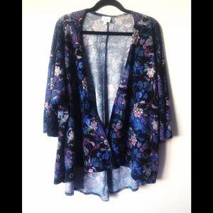 LuLaRoe Lindsay Floral Open Front  Cardigan Kimono